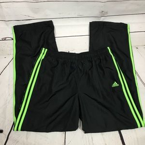 Adidas Exercise Pants Black with Green Stripes